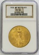 1908 Nm Gold Usa 20 Saint Gaudens Double Eagle No Motto Coin Ngc Mint State 64