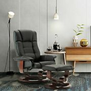 Modern New Leather Swiveling Recliner Chair And Ottoman With Swiveling Wood Base