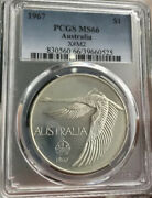 💰1967 Aust. Swan Goose Dollar Pcgs Ms66 Milled Edge Coin And Case Agem Unc