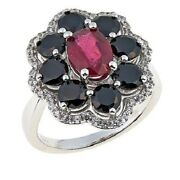 Colleen Lopez Ruby Black Spinel And White Zircon Sterling Silver Ring Sz-8 Hsn