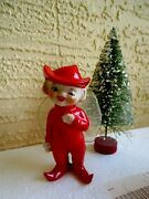 Vintage Ceramic Elf/pixie Fairy Nylon Wire Wings Red Hat And Suit Xmas Figurine