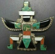 Leo Poblano 1940s Knifewing Inlay Pin/brooch Sterling Turquoise Coral Jet Mop