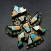 Exquisite Lambert Homer 1940s Knifewing Inlay Pin/brooch Sterling Turquoise Jet