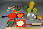 Vintage Pots And Pans Cooking Utensils -toy Plastic Food - 31 Pieces Circa 1980's