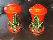 Vintage Red W/holly Leaves Salt And Pepper Christmas Holiday