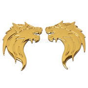 Pair 3x2 3d Emblem Decal Motorcycle Fairing Fender Sticker Gold For Benelli