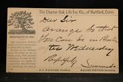 Ma North Beverly 1874 Charter Oak Life Insurance Advertising Postal Card
