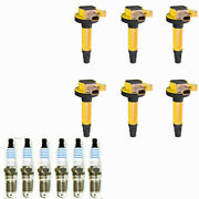 Sp534 Spark Plugs + Yeliow Ignition Coil For Ford F-150 Transit Ecoboost 3.5l