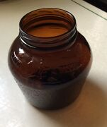 """Vintage Brown Glass Jar No Lid, """"paul Revere"""" And """"old North Church"""""""