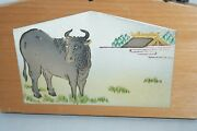 Ema Japanese Votive Picture Bull Signed Ise Jingu Shrine