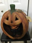 """Bethany Lowe Halloween 19"""" Large Pumpkin With Black Cat Retired"""