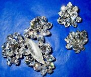 Sherman Clear Crystal Brooch And Clip On Earrings Signed 1950-60s