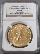 1967 Gold Bahamas 100 Ngc Mint State 65 New Constitution Only 1200 Minted