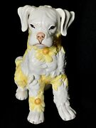 """Vintage Ronzan Boxer Dog With Yellow Daisies Figurine Statue 9""""h"""