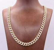 9mm Miami Cuban Cz Royal Chain Necklace Box Clasp Real 10k Yellow Gold