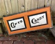 1900-10 Painted Wood Salvaged Dime Store Front Counter Panel Sign, Candy