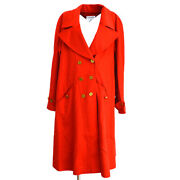 94a 40 Cc Button Long Sleeve Jacket Coat Red Cashmere Authentic 02561
