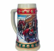 Budweiser Beer Holiday Stein Mug Cup Christmas Clydesdale Horse Hometown Snowman