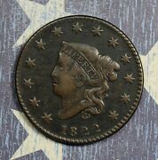1822 Coronet Head Copper Large Cent Collector Coin, Free Shipping