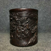China Rosewood Wood Carved Young Boys And Girls Pine Tree Brush Pot Pencil Vase