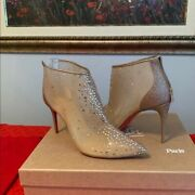 Christian Louboutin Brown Constella Crystal 85mm Boots New
