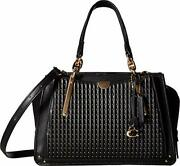 Coach Dreamer Bag With Quilting And Rivets In Black And Gold
