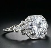 Art Deco 2 Ct Round Diamond Vintage Antique Engagement Ring 925 Sterling Silver