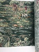 """Vintage Horses Riders Hounds Dogs In Hunt Scene Elk Cotton Fabric 19"""" Wide Roll"""