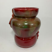Weller Pottery Turkis Vase - Signed - Red And Green Beautiful Glaze