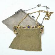 Pair Of 2 Antique Soldered Mesh Purses Marked Wandd And E. A. Bliss Early 20th C.