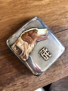 1920's Art Deco .935 Sterling And 14k Enamel Cigarette Case With Hound Dog