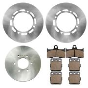 Front Rear Brake Disc Rotor W/brake Pad For Yamaha Grizzly 660 Yfm660f 2003-2008