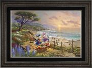 Thomas Kinkade Studios Donald And Daisy A Duck Day Afternoon 12 X 18 G/p Framed