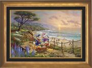 Thomas Kinkade Studios Donald And Daisy A Duck Day Afternoon 18 X 27 G/p Framed