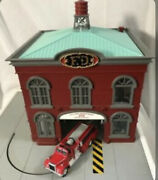 ✅mth Railking Operating Fire House Building Accessory 30-9102 O Gauge Station