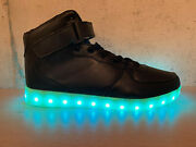 High Top Black Light Up Sport Shoes Usb Charging Led Light Lace Up New Womenand039s
