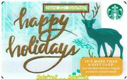 Starbucks 2018 Christmas Reindeer Gold Happy Holidays Collectible Gift Card