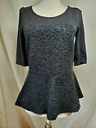 Nwt Deletta Shimmered Boucle Peplum Top Sz S Black Sequins Anthropologie 3/4 Slv