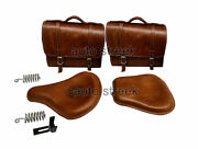 Royal Enfield Classic 500 350 Brown Tan Front And Rear Leather Seats With Bags