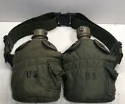 Vintage Green Canteens Water Bottle Bag With Belt Us Army Military Collectible