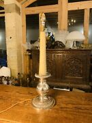 Antique Neo-classical Silver Plated Candleabra Table Lamp, Flemish Early 20th C