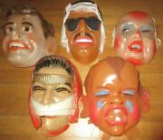 Unique Vintage Greek Lot Plastic Halloween Masks From Late 50s
