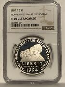 1994-p Women Veterans Ngc Pf70 Proof Commemorative Silver One Dollar Coin