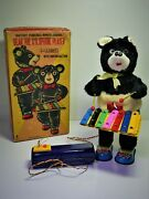 Alps Japan 1950's Bear The Xylophone Player Battery Toy, W.orig.box