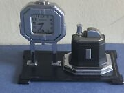 Antique Ronson Table Cigarette Lighter With Watch, Circa 1930