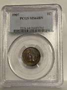 1907 Indian Head 1¢ Cent, Pcgs Ms64bn