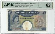 Jamaica 5 Pounds 1960, P-48b Government, Pmg 62 Unc Uncirculated And Very Rare