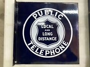 Original Vintage Public Telephone Phone Flange Sign Local And Long Distance Old