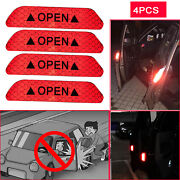 4pcs Super Red Car Door Open Stickers Reflective Tape Safety Sign Warning Decal