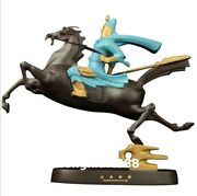 35 Cm Famous China Artist Pure Bronze Abstract Sit Horse Guan Gong Art Statue